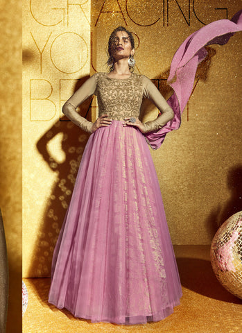 A Line Style Pink with Sequins Work Incredible Unstitched Salwar Kameez