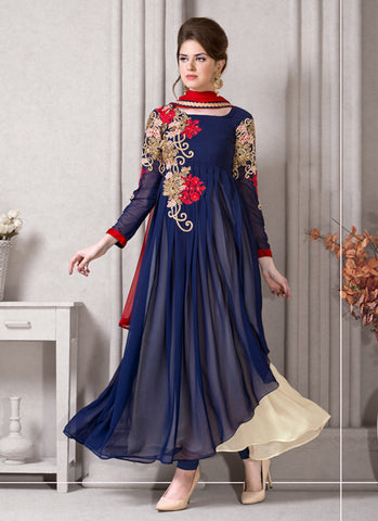 A Line Style Blue with Crystals Stones Work Incredible Unstitched Salwar Kameez