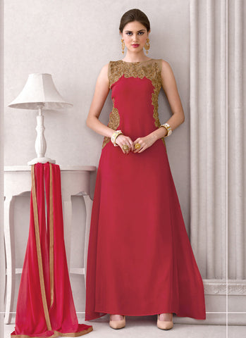 Straight Cut Style Red Color with Crystals Stones Work Incredible Unstitched Salwar Kameez