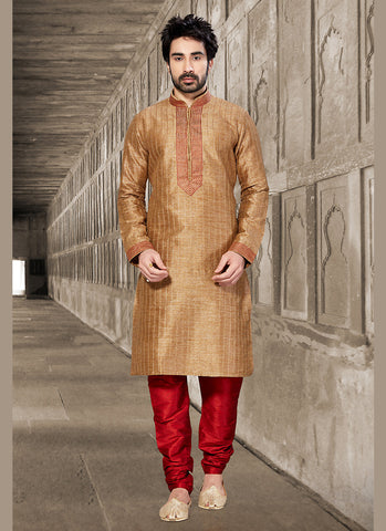 Exquisite Brown Dupioni Raw Silk Readymade Kurta For Mens