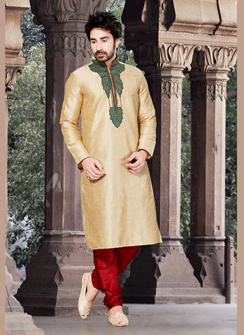 Exquisite Brown Ghicha Silk Readymade Kurta For Mens