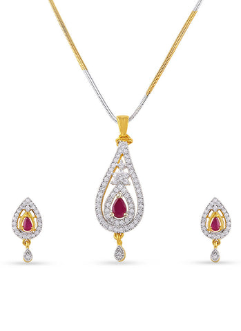 Fancy & Designer Collection In Precious Jewellery of Pendant Set In Silver & Gold