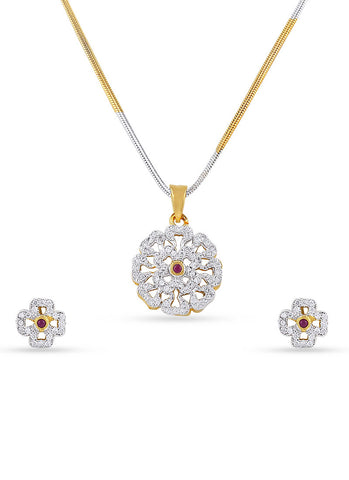 Designer & luxurious Collection In Precious Jewellery of Pendant Set In Silver & Gold