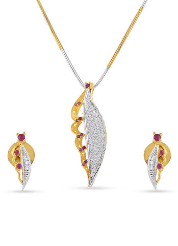 luxurious & Designer Collection In Precious Jewellery of Pendant Set In Silver & Gold