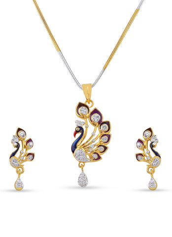 Fancy & luxurious Collection In Precious Jewellery of Pendant Set In Silver & Gold