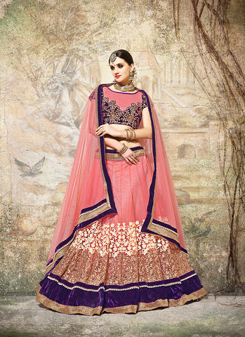 Women's Pretty Circular Lehenga Style in Salmon With Beads Work Dupatta