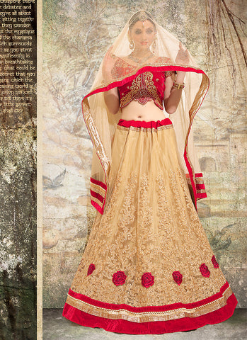 Women's Pretty Circular Lehenga Style in Tan Brown With Lace Work Dupatta