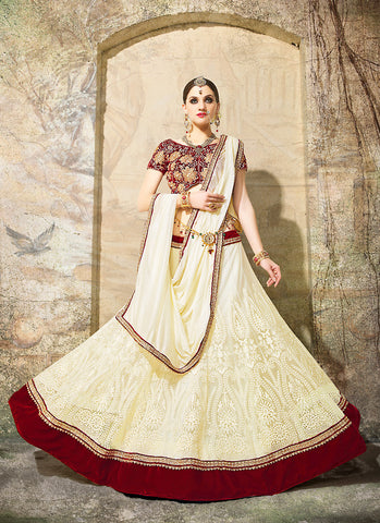 Women's Fancy Fabric & Cream Pretty Circular Lehenga Style