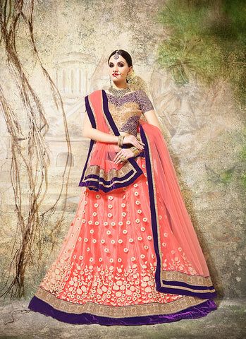 Women's Fancy Fabric & Pink Pretty Circular Lehenga Style