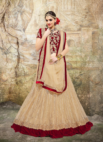 Women's Fancy Fabric & Brown Pretty Circular Lehenga Style