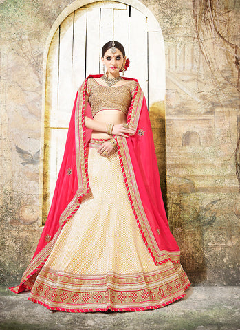 Women's Fancy Fabric & White Pretty Circular Lehenga Style