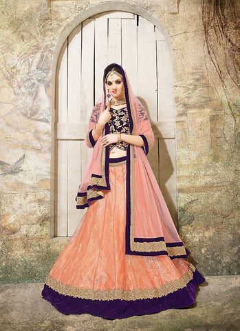 Women's Fancy Fabric & Orange Pretty Circular Lehenga Style