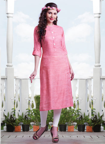 Pink Color Incredible Straight Kurti in Cotton