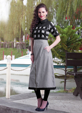 Incredible A-line Kurti Style in Gray