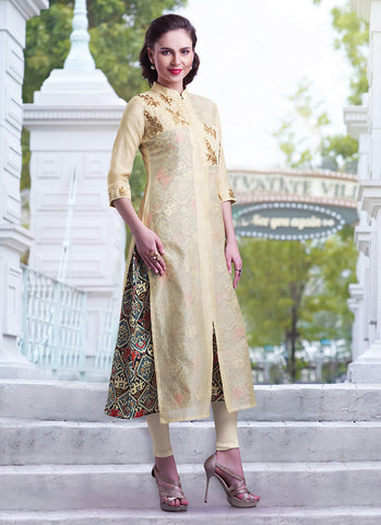 Incredible Achkan Kurti Style with Butta Work & Sequins Work