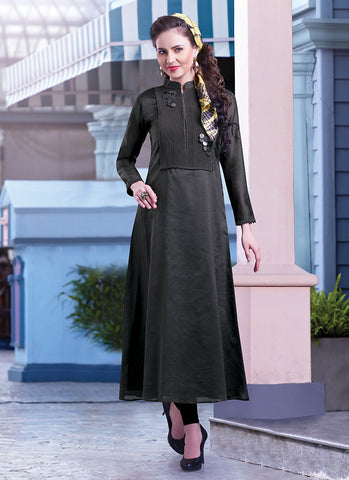 Incredible A-line Kurti Style in Chanderi Silk Fabric