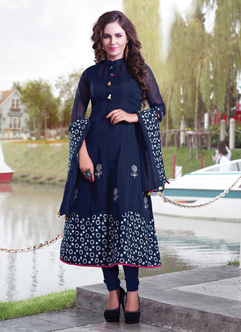 Blue Color with Resham & Printed Work Incredible Readymade Kurti