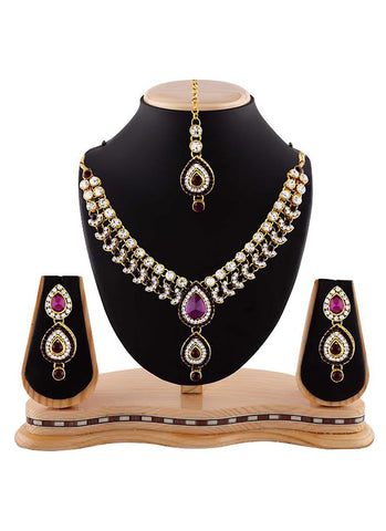 Women's Creative Necklaces in Fuchsia, Maroon & Gold Color