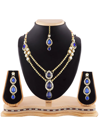 Women's Creative Necklaces in Blue, White & Gold Color