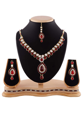 Wonderful White, Maroon & Gold Color Necklaces
