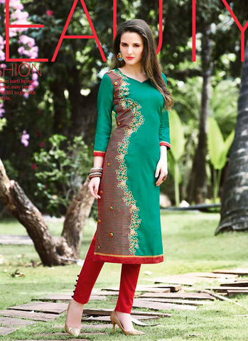Incredible Straight Kurti Style in Cotton & Green