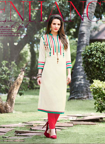 Incredible Straight Kurti Style in Cotton & Cream