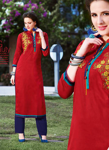 Incredible Straight Kurti Style in Cotton & Red