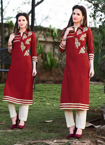 Red Incredible Straight Kurti