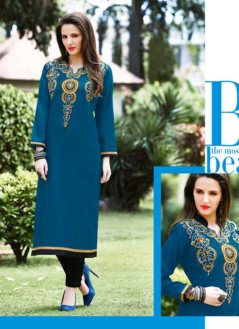 Blue Color Cotton in Incredible Straight Kurti Style