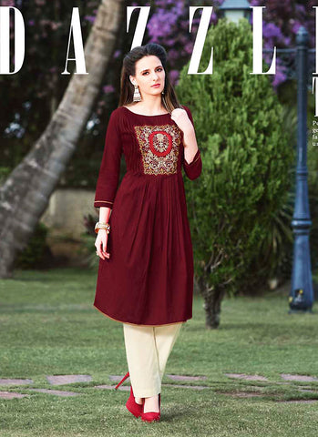 Maroon Color with Resham & Lace Work Incredible Readymade Kurti