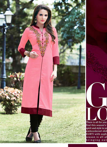 Incredible Achkan Kurti Style in Pink Color