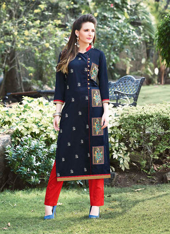 Incredible Angrakha Kurti Style with Butta Work