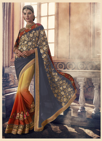 Incredible Embroidered Pallu Saree in Slate Gray Color