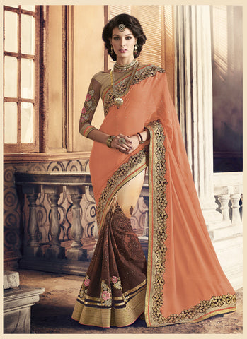 Appealing Fancy Pallu Saree in Apricot Color