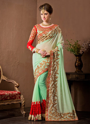 Gorgeous Fancy Pallu Saree in Mint Green Color