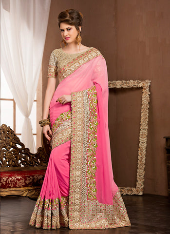 Fine-looking Embroidered Pallu Saree in Salmon Color