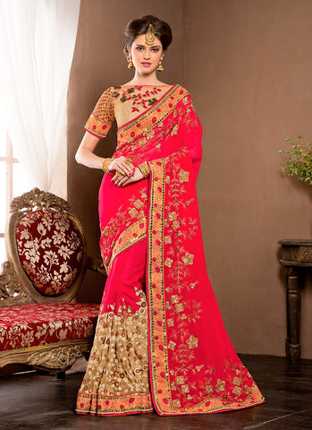Striking Embroidered Pallu Saree in Deep Pink