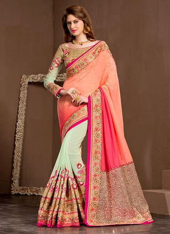 Honeydew Saree With Gorgeous Fancy Pallu