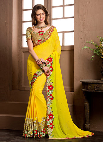 Lemon Saree With Gorgeous Fancy Pallu