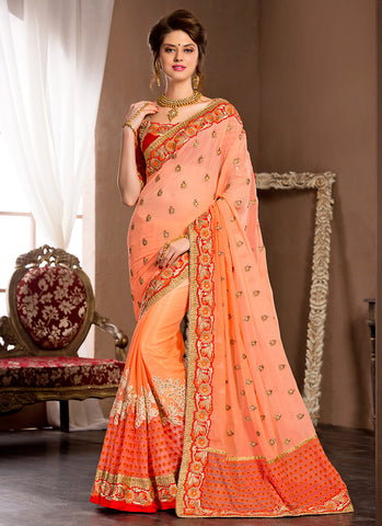 Lovely Embroidered Pallu Saree in Orange Color