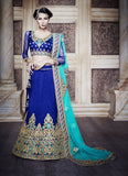 Women's Dupioni Raw Silk Fabric & Blue Pretty Unstitched Lehenga Choli