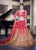 Women's Dupioni Raw Silk Fabric & Crimson Pretty A Line Lehenga Style With Lace Work Dupatta