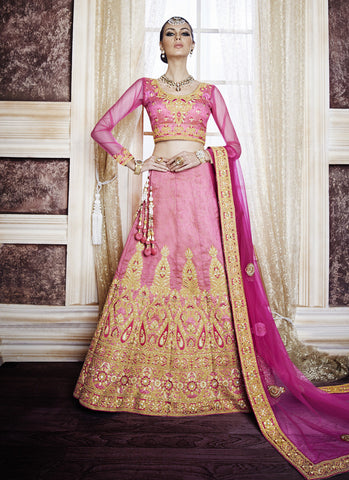 Women's Pink & Dupioni Raw Silk Fabric Pretty Unstitched Lehenga Choli
