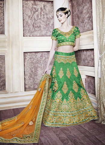 Women's Dupioni Raw Silk Fabric & Green Pretty A Line Lehenga Style