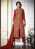 Achkan Style Maroon with Sequins Work Incredible Unstitched Salwar Kameez