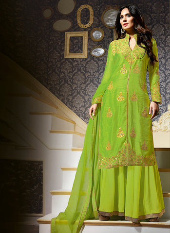 Silk Green Incredible Unstitched Salwar Kameez
