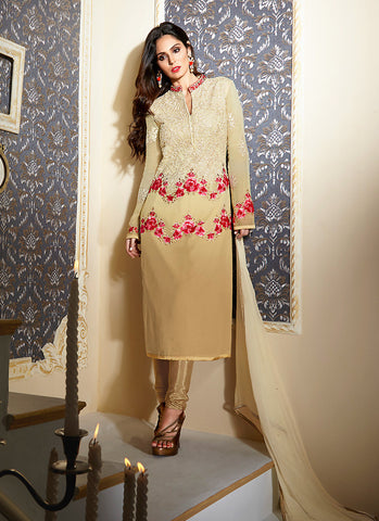Straight Cut Style Brown Color with Crystals Stones Work Astounding Unstitched Salwar Kameez