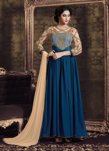 Anarkali Style Blue with Butta Work Astounding Unstitched Salwar Kameez