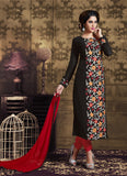Black Georgette Astounding Salwar Kameez in Straight Cut Style