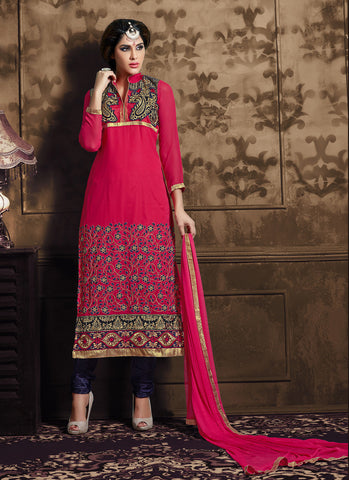 Straight Cut Style Pink with Lace Work Wonderful Unstitched Salwar Kameez